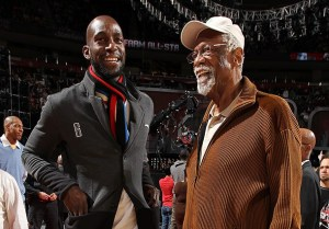 "KG & Bill Russell getting their ""grown man swag"" on. I like it. (Nathaniel S. Butler/NBAE via Getty Images)"
