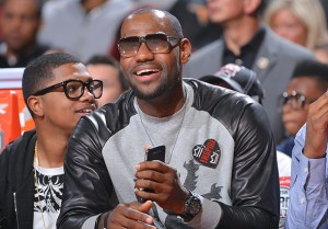 LeBron James: Are those leather sleeves on a sweatshirt? (Jesse D. Garrabrant/NBAE via Getty Images)