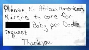 This note was taped to a baby's clipboard at a Michigan Hospital, a lawsuit alleges. (Credit: ABC12/ABC News)