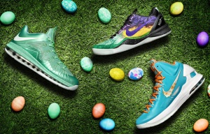 Nike's Easter sneakers for, from left: LeBron James, Kobe Bryant and Kevin Durant. (Nike)