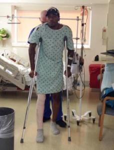 Kevin Ware stands with the help of crutches after a successful surgery to repair broken tibia. Photo credit 14 NEWS